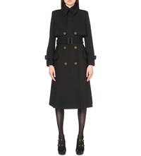 Alexander Mcqueen Belted Wool And Silk Blend Trench Coat Black