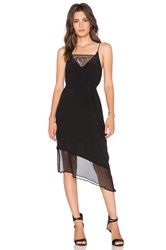 Heather Asymmetrical Silk And Lace Cami Dress Black