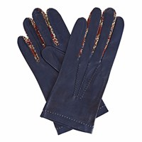 Gizelle Renee Philomena Navy Leather Gloves With Bm Liberty Tana Lawn Blue