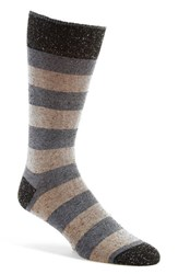 Lorenzo Uomo Men's 'Danubio' Wide Rugby Stripe Crew Socks Denim