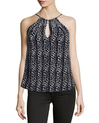 Haute Hippie Silk Keyhole Halter Top Black