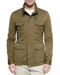 Berluti Cotton Linen Field Jacket Olive Green