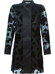 Carven Long Organza Floral Shirt Black