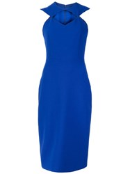 Christian Siriano Rhombus Cut Out Fitted Dress Blue