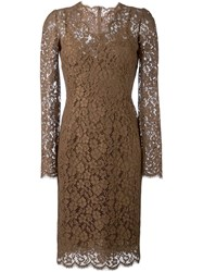 Dolce And Gabbana Lace Dress Brown