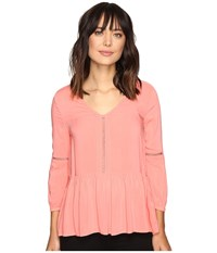 Calvin Klein Jeans Pleated Drop Waist Peasant Blouse Shell Pink Women's Blouse