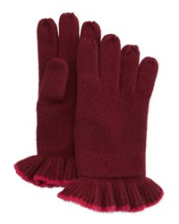 Neiman Marcus Cashmere Ruffle Contrast Trim Gloves Beet Red Pink