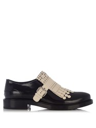 Tod's Gomma Fringed Patent Loafers Black White