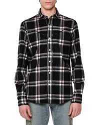 Valentino Western Style Plaid Flannel Shirt Black
