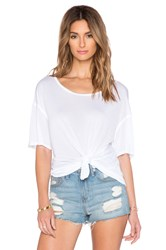 Michael Stars Boatneck Side Tie Tee White