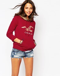 Hollister Faux Fur Lined Fleece Hoodie Red