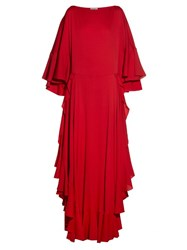 Lanvin Boat Neck Ruffled Gown Red