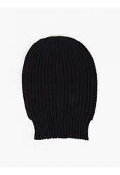 Rick Owens Navy Oversized Wide Rib Knitted Hat
