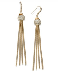 Inc International Concepts Gold Tone Pave Snake Chain Linear Drop Earrings