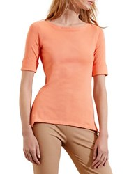 Lauren Ralph Lauren Petite Stretch Cotton Boatneck Tee Orange