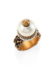 Gucci Faux Pearl Beaded Ring Gold