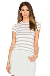 Atm Anthony Thomas Melillo Striped Cap Sleeve Tee Gray