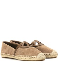Tory Burch Sidney Suede And Leather Espadrilles Brown