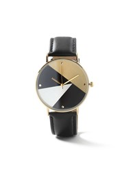 Topman Black Leather Lined Face Watch