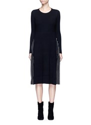 Mo And Co. Edition 10 Stripe Intarsia Insert Knit Dress Black