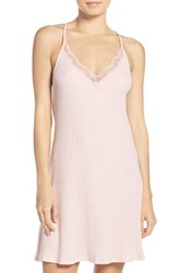 Josie Women's Lace Trim Knit Chemise Cosmetic Pink