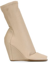 Rick Owens Wedge Booties Nude And Neutrals