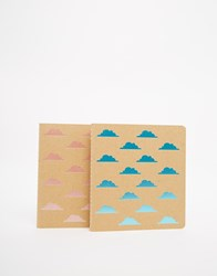 Paperchase Kraft Neon Clouds Notebooks Set Of 2 Multi