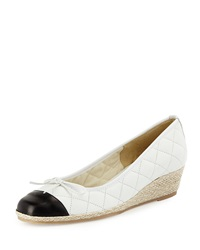 Margie Quilted Leather Wedge Pump White Black Sesto Meucci