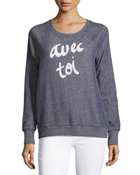 Soft Joie Annora Printed French Terry Sweatshirt Peacoat Heather