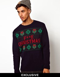 Reclaimed Vintage Christmas Jumper With F Christmas Print Blue