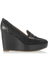 Penelope Chilvers Sahara Suede And Leather Wedge Pumps