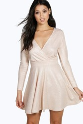 Boohoo Metallic Speckle A Line Skater Dress Blush