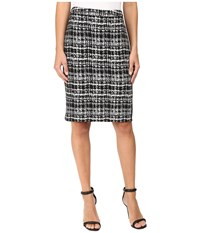 Calvin Klein Jacquard Pencil Skirt Black Multi 4 Women's Skirt Gray