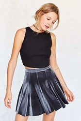 Kimchi And Blue Jubilee Velvet Mini Skater Skirt Dark Grey