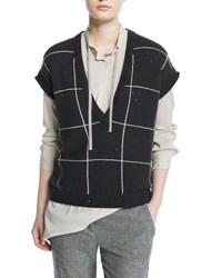 Brunello Cucinelli Cap Sleeve Embellished Windowpane Pullover Black