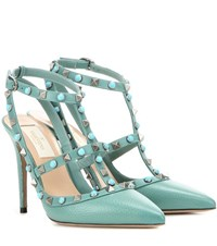 Valentino Rockstud Rolling Leather Pumps Turquoise