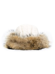 Woolrich Raccoon Fur Hat Nude And Neutrals