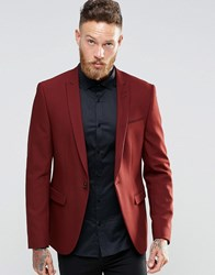 Asos Skinny Blazer In Red With Peak Lapel Red