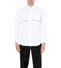 Comme Des Garcons Taped Cut Out Slim Fit Cotton Shirt White