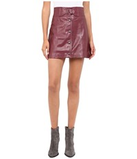 Red Valentino Leather Skirt Burgundy Women's Skirt
