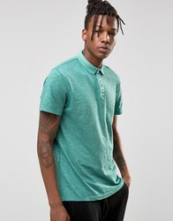 Selected Slim Fit Slub Jersey Polo Shirt With Overdye Green