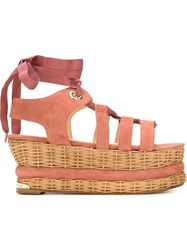 Paloma Barcelo Gladiator Style Sandals Pink And Purple
