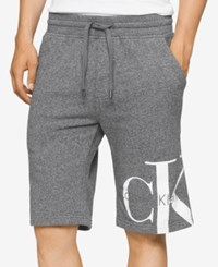 Calvin Klein Jeans Men's Reissue Graphic Print Logo Sweat Shorts Charcoal Grindle Htr