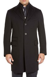 Men's Big And Tall Corneliani Classic Fit Solid Wool Overcoat Charcoal