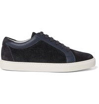 Brunello Cucinelli Leather Trimmed Suede And Corduroy Sneakers Blue