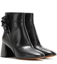 Tory Burch Blossom 70 Leather Ankle Boots Black