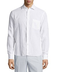 Neiman Marcus Linen Chambray Long Sleeve Button Front Shirt White
