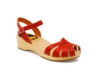 Swedish Hasbeens Cross Strap Debutant Sandals Red