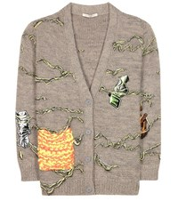 Christopher Kane Embellished Wool And Mohair Blend Cardigan Grey