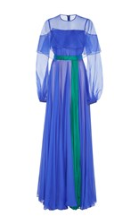 Bibhu Mohapatra Two Tone Long Sleeve Gown Blue